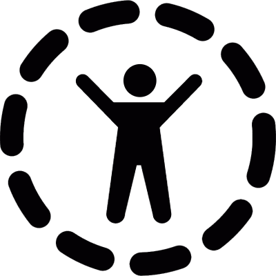 Person with arms outstretched logo