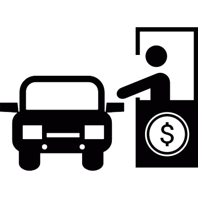 Payment booth and vehicle logo