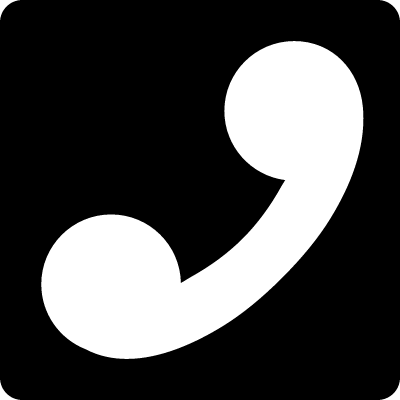 Call symbol of an auricular in a square vector logo
