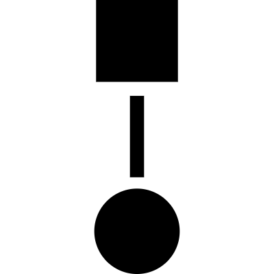 square connected to circle graphic vector logo