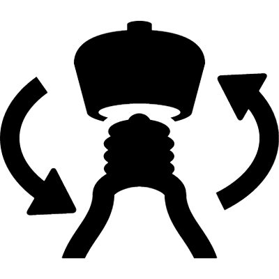 Lamp with rotating arrows symbol vector logo