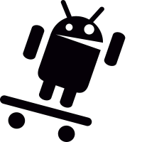 Android with Arm Up On Skateboard