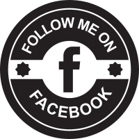 Facebook social retro circular badge vector
