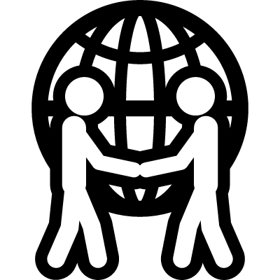 Human salutation in front of a world sphere vector logo