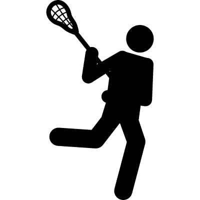 Lacrosse silhouette of a person with a racquet vector logo