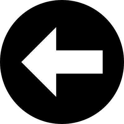 Arrow pointing to left inside a circle vector logo