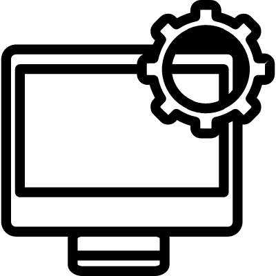Computer setting outline interface symbol in a circle vector logo