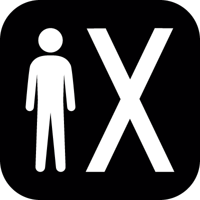 Man standing beside an X symbol in a rounded square in black and white vector logo