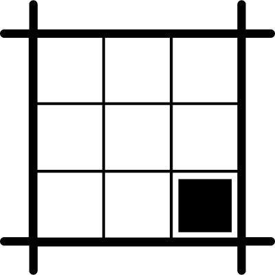 Square layout with black square on southeast area vector logo