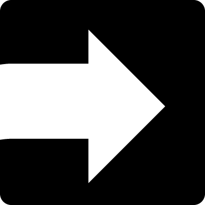 White arrow facing the right direction inside a square vector logo