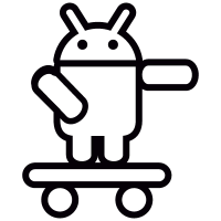 Android On Skateboard with Arm Pointing Left