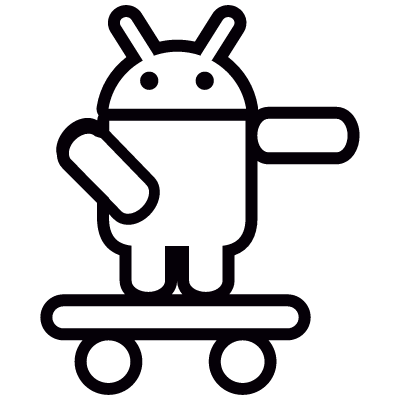 Android On Skateboard with Arm Pointing Left vector logo