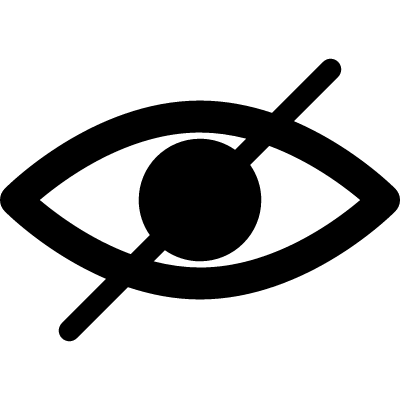 Blind symbol of an opened eye with a slash vector logo