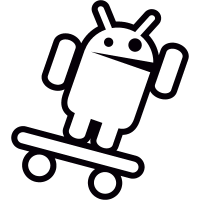 Android with Skateboard and Arm Up