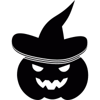 Pumpkin with witch hat vector