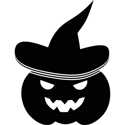 Pumpkin with witch hat vector logo