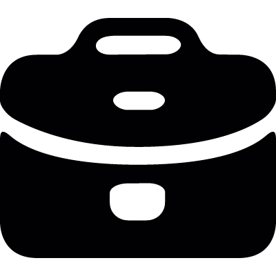 Closed black briefcase vector logo