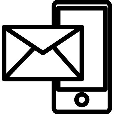 Mail and phone outline symbol in a circle vector logo