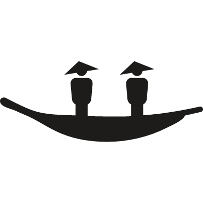 Two Chinese with a canoe vector logo