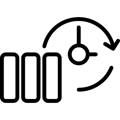 Backup thin outline symbol in a circle vector logo