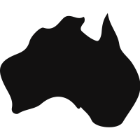 Australia black country map shape
