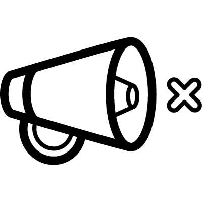 Mute interface symbol outline of a speaker with a small cross vector logo