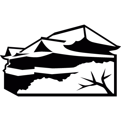 Kiyomizu-dera, temple of buddism in Kioto vector logo