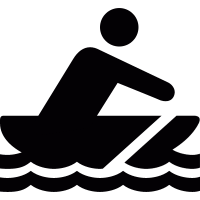 Man rowing on boat vector