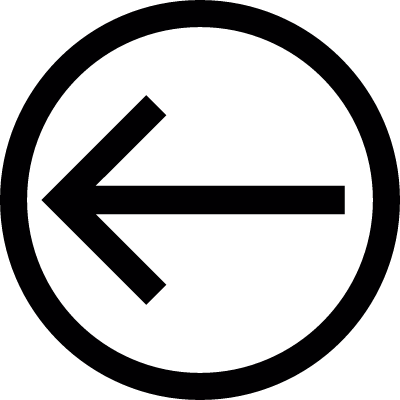 Arrow direction to the left inside a circle outline vector logo