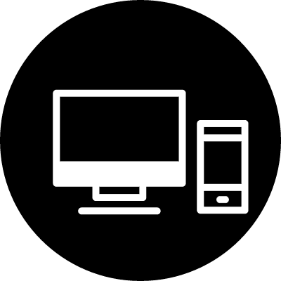 Monitor and cellphone outlines in a circle vector logo