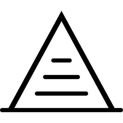 Pyramid with lines inside vector logo