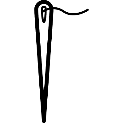 Needle outline in vertical with a short thread in the hole vector logo