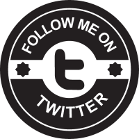 Follow me on Twitter social badge vector