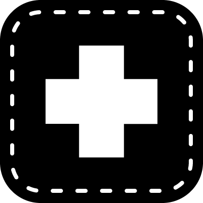 Medical cross symbol in a rounded square logo