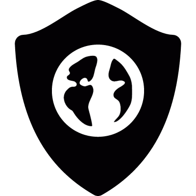 Earth symbol on protection shield logo