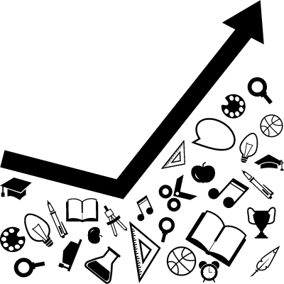 Line graphic for education with materials down the arrow logo