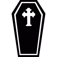 Coffin with cross vector