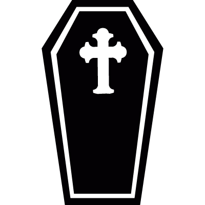 Coffin with cross vector logo