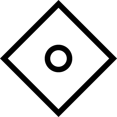 Rotated square with a circle inside vector logo