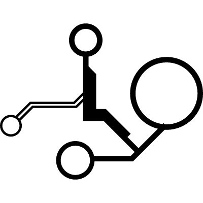 Electronic circuit detail with circles connected by thin lines vector logo