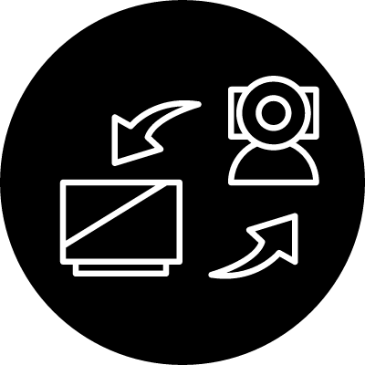 Surveillance system of video camera connected to a computer vector logo