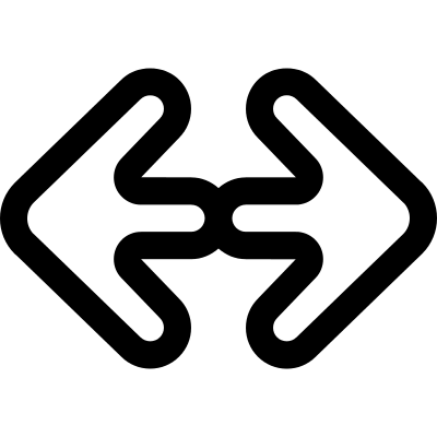 Double arrow outlines pointing to the left and right vector logo