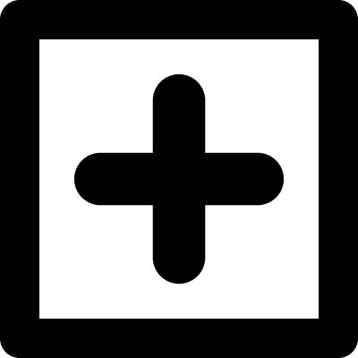 Plus sign in a square vector logo