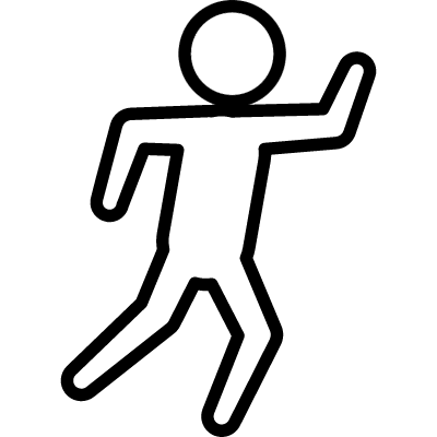 Criminal outlined shape on floor from top view vector logo