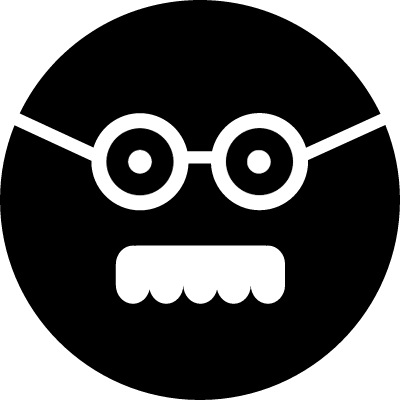 Male square face with glasses and mustache vector logo