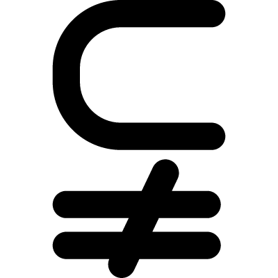 Subset of above not equal to symbol vector logo