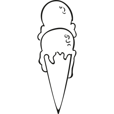 Two Balls Ice cream Cone vector logo