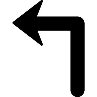 Arrow of large size turning to the left vector logo