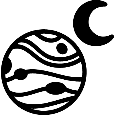 Planet with one moon vector logo