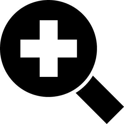 Zoom in interface symbol of a magnifier with a plus sign vector logo